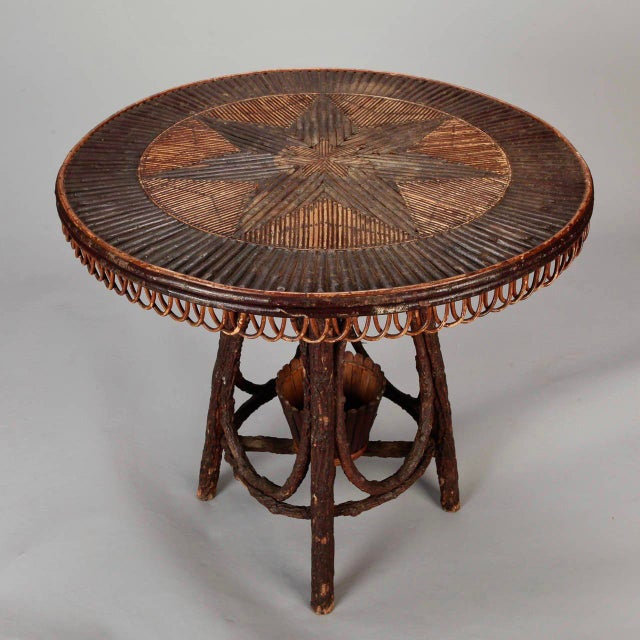 French Round Bent Willow Twig Table With Star Design Inlay - Image 3 of 9