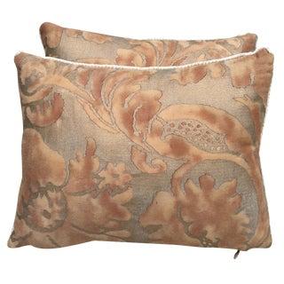 Rust & Metallic Gold Fortuny Pillows - A Pair