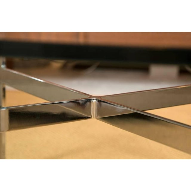 Mid-Century Steel X Base Cocktail Table - Image 7 of 9