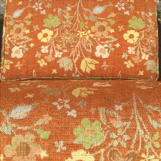 Mid-Century Orange Floral Lounger - Image 10 of 10