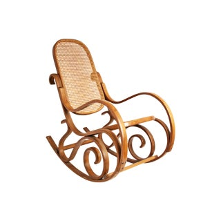 Vintage Thonet-Style Bentwood Cane Rocking Chair