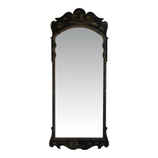 Vintage Black Lacquer Chinoiserie Mirror