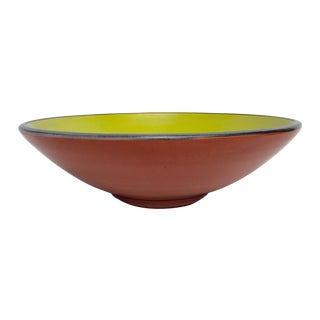 Lime & Terracotta Colored Matte Glazed Bowl