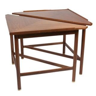 Pair of Triangular Mahogany End Tables by Edward Wormley