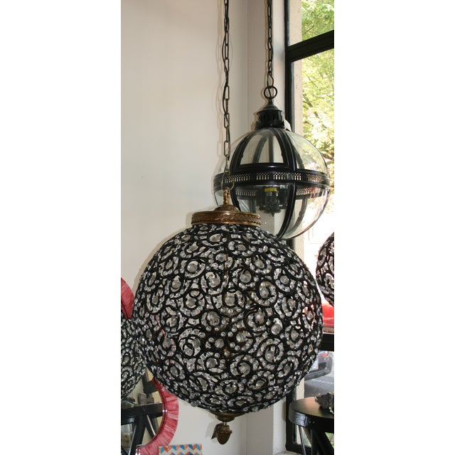 Large Crystal Black Swirl & Brass Chandelier - Image 2 of 5