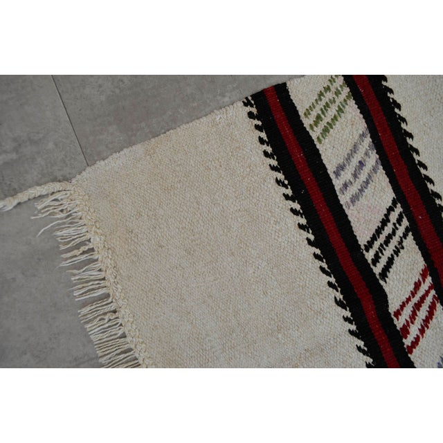 Vintage Natural Stripe Turkish Cotton Kilim Rug - 4′3″ × 8′ - Image 9 of 9