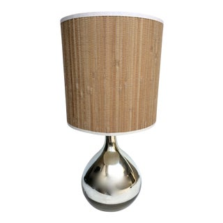 Vintage Mercury Glass Teardrop Table Lamp with Bamboo Paper Shade