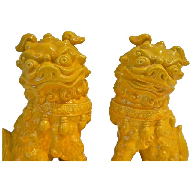 Yellow Ceramic Foo Dog - Pair - Image 2 of 5