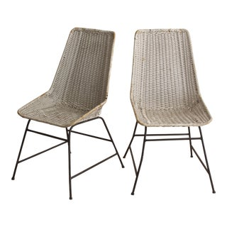 Vintage Woven Dining Chairs - A Pair