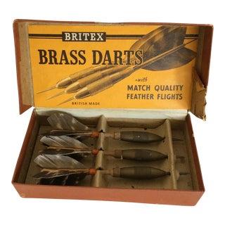 1940's Britex English Brass Darts W/feather Flights