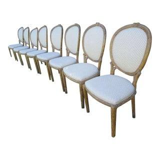 Mid-Century Faux Bois Dining Chairs - Set of 8