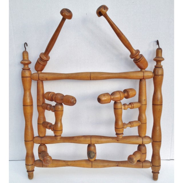 Antique Faux Bamboo Hat and Coat Folding Rack - Image 2 of 7