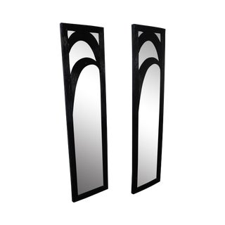 Mid-Century Black Painted Reeded Design Mirrors - A Pair