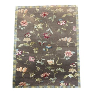 Custom Brown Floral Wool and Silk Area Rug - 7′1″ × 12′1″