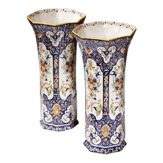 19th Century French Hand-Painted Vases From Rouen - a Pair