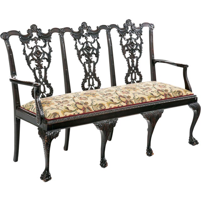 Image of Antique Chippendale Mahogany Settee