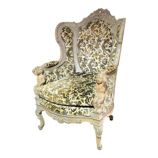 Victorian Distressed Painted Carved Bergere Chair