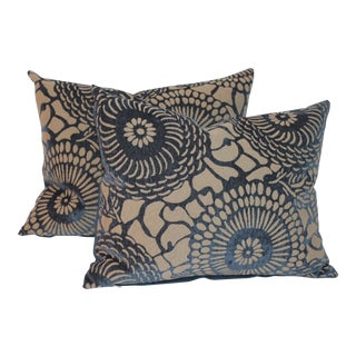 Floral Blue Patterned Velvet Pillows- A Pair
