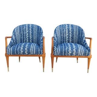 Mid-Century Indigo Shibori Style Upholstered Armchairs - A Pair