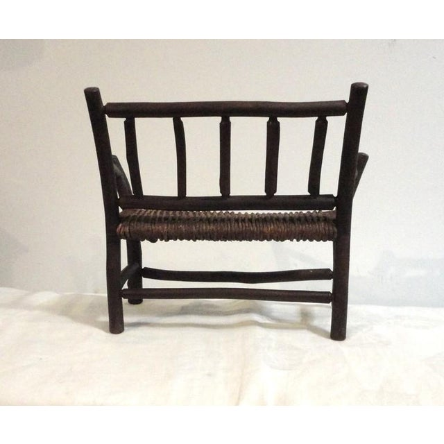 Salesman Sample Old Hickory Settee W/ Original Woven Seat - Image 6 of 6