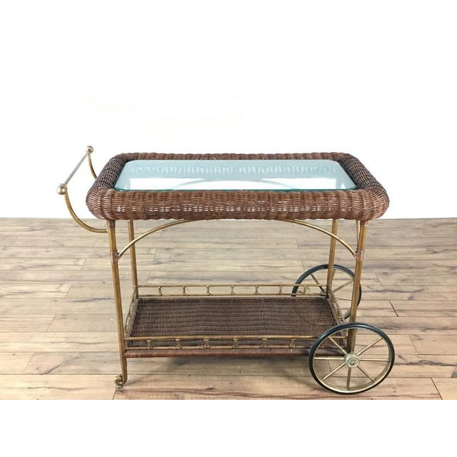 Vintage Wicker Wrapped Bar Cart - Image 7 of 7