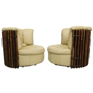 Pacific Green Leather Swivel Chairs - A Pair