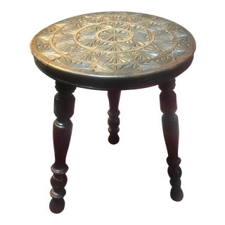 Antique English Carved Top Pyrogrsphy Stool