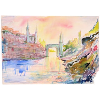 1960 Rainbow Archway Watercolor Painting