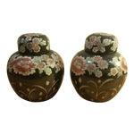 Image of Asian Handpainted Black Rose Ginger Jars - A Pair