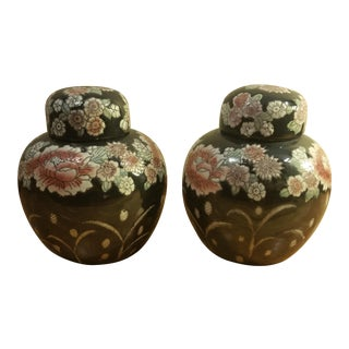 Asian Handpainted Black Rose Ginger Jars - A Pair