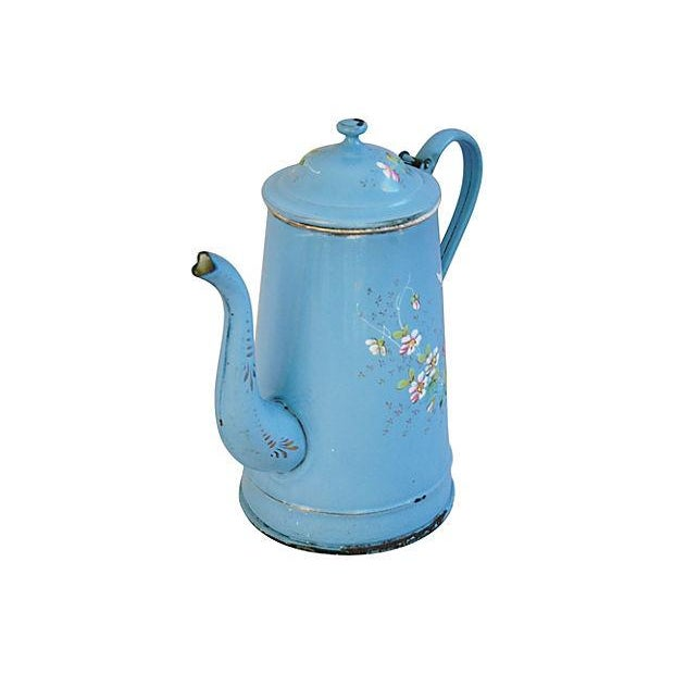 French Hand-Painted Enamelware Coffeepot - Image 4 of 7