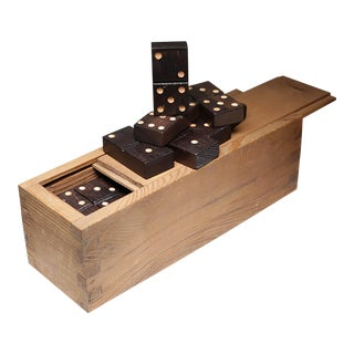 Early 20th c. Large Wooden Domino Set c. 1900