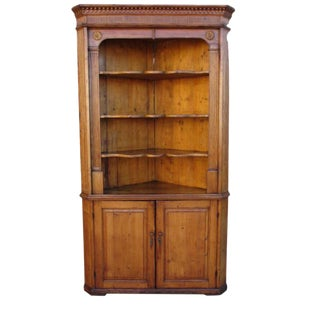 Antique Pine Corner Cabinet Hutch