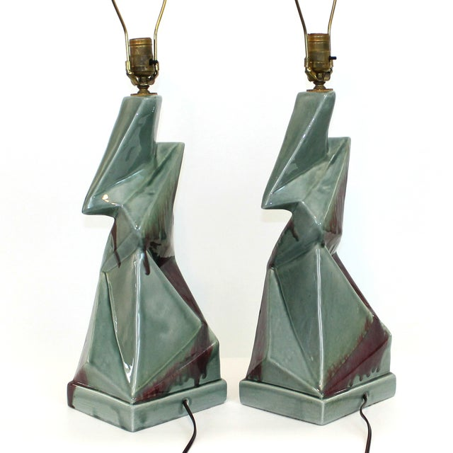 1950s Modern Cubist Ceramic Lamps - A Pair - Image 9 of 10