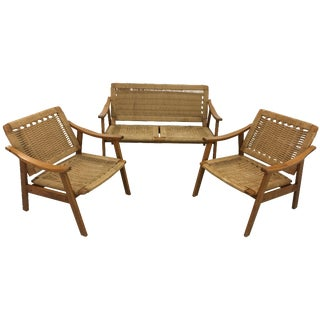 Mid-Century Rope Lounge Chairs & Settee - Set of 3