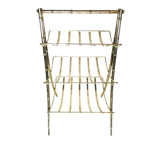 Vintage Mid-Century Brass Three Tier Magazine Rack