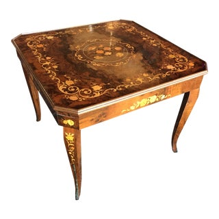 Vintage Italian Burl Game Table With Games