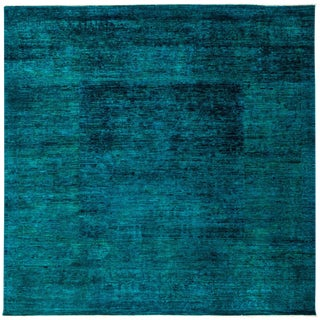 """New Teal Overdyed Hand-Knotted Rug - 8'2"""" X 8'2"""""""