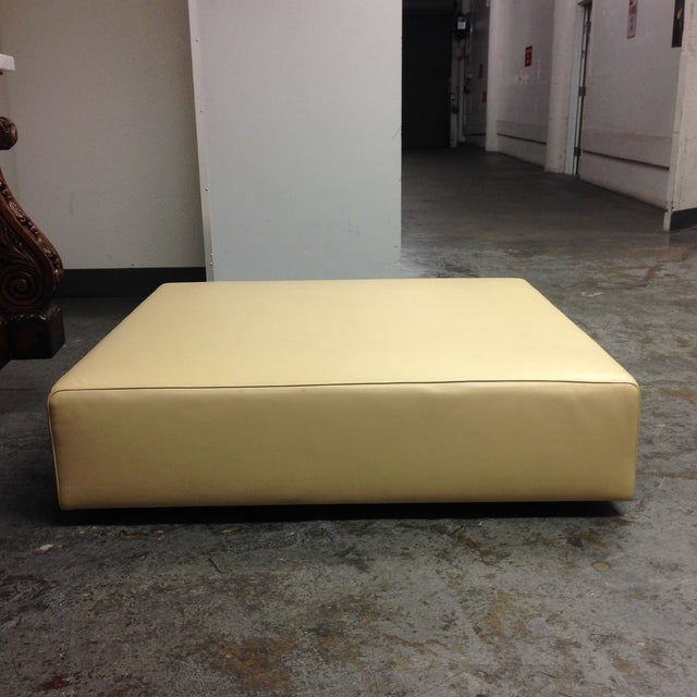 Cream Leather Ottoman by Living Divani - Image 3 of 6