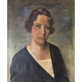 1900's Antique Oil on Canvas Painting of a Woman
