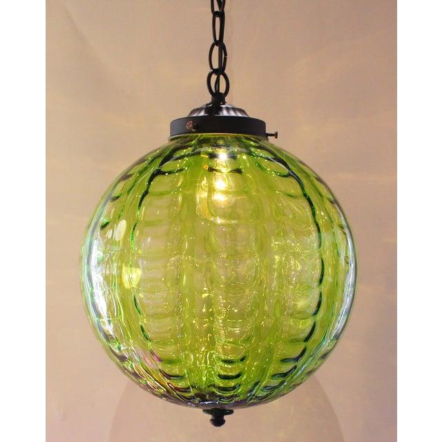 Mid-Century Green Globe Pendant Light | Chairish