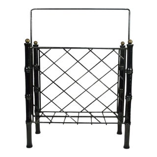 Vintage Mid-Century Faux Bamboo Iron & Brass Modern Magazine Holder Stand Black