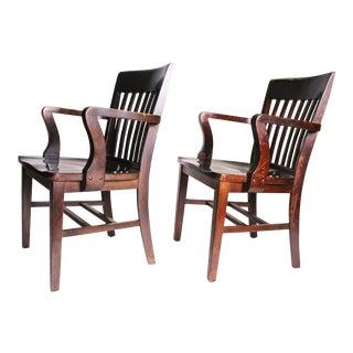 Vintage Wood Banker Armchairs - A Pair