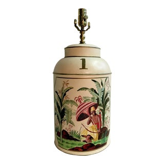 Chinese Export English Tea Caddy Tole Lamp