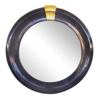 Overscale Lacquered Goatskin Mirror Attributed to Karl Springer