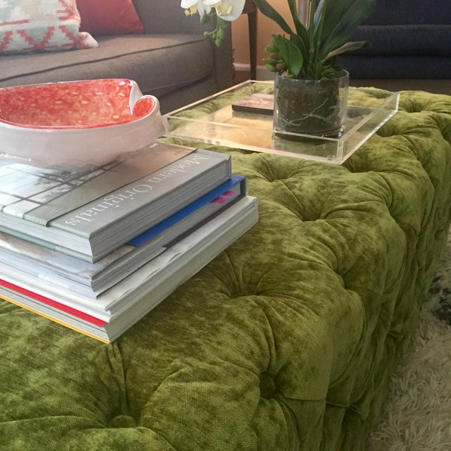 Green Tufted Velvet Ottoman/Coffee Table - Image 5 of 7