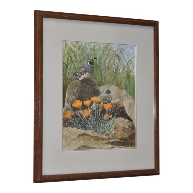 Gerald Petitt California Quail & Poppies Watercolor c.1970s - Image 1 of 11
