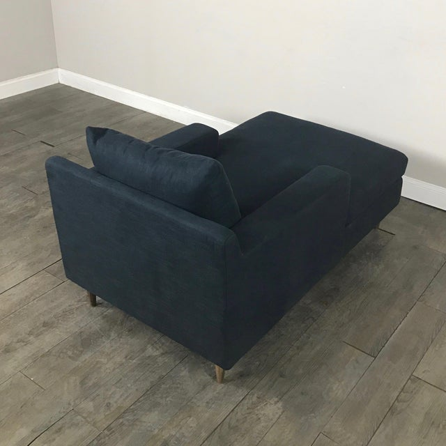 Modern Navy Chaise Lounge Sofa - Image 11 of 11