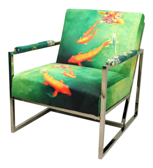 Contemporary Koi Fish Upholstered Chrome Chair