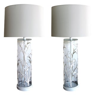Pair of American Cylindrical Glass Lamps with Applied Bamboo Decoration
